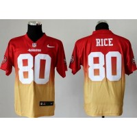 Nike 49ers #80 Jerry Rice RedGold Men's Stitched NFL Elite Fadeaway Fashion Jersey