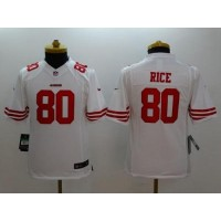 Nike 49ers #80 Jerry Rice White Youth Stitched NFL Limited Jersey