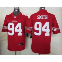 Nike 49ers #94 Justin Smith Red Team Color Men's Stitched NFL Limited Jersey