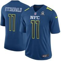 Nike Arizona Cardinals #11 Larry Fitzgerald Navy Men's Stitched NFL Game NFC 2017 Pro Bowl Jersey