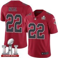 Nike Atlanta Falcons #22 Keanu Neal Red Super Bowl LI 51 Men's Stitched NFL Limited Rush Jersey