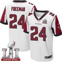 Nike Atlanta Falcons #24 Devonta Freeman White Super Bowl LI 51 Men's Stitched NFL Elite Jersey