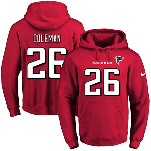 c6fc5f5df Nike Atlanta Falcons  26 Tevin Coleman Red Name   Number Pullover NFL Hoodie