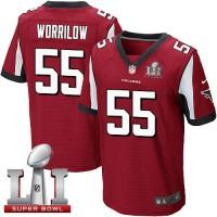 Nike Atlanta Falcons #55 Paul Worrilow Red Team Color Super Bowl LI 51 Men's Stitched NFL Elite Jersey