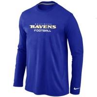 Nike Baltimore Ravens Authentic Font Long Sleeve T-Shirt Blue