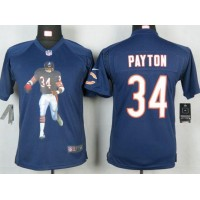 Nike Bears #34 Walter Payton Navy Blue Team Color Youth Portrait Fashion NFL Game Jersey