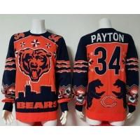 Nike Bears #34 Walter Payton OrangeNavy Blue Men's Ugly Sweater