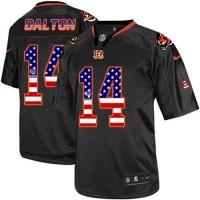Nike Bengals #14 Andy Dalton Black Men's Stitched NFL Elite USA Flag Fashion Jersey