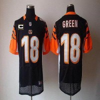 Nike Bengals #18 A.J. Green Black Team Color With C Patch Men's Stitched NFL Elite Jersey