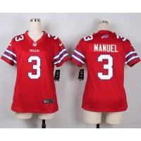 Nike Bills #3 E. J. Manuel Red Women's Stitched NFL Limited Rush Jersey