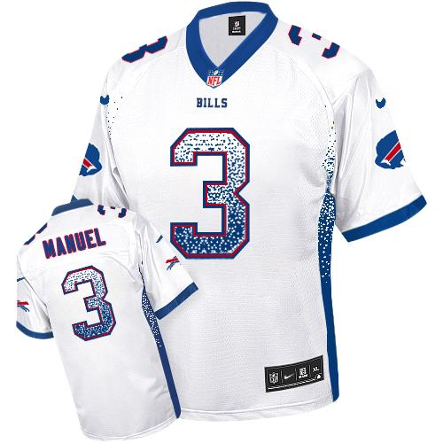 Top Nike Bills #3 EJ Manuel White Men's Stitched NFL Elite Drift Fashion