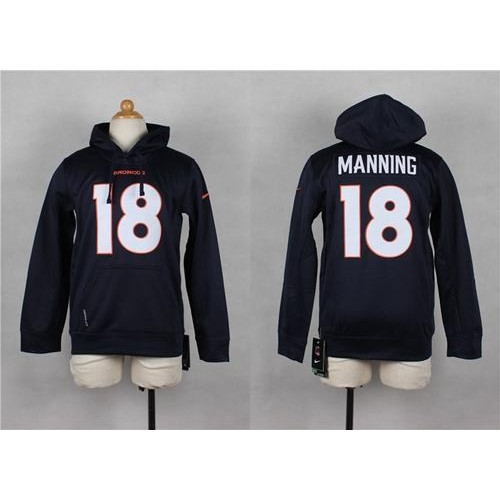 Nike Broncos #18 Peyton Manning Navy Blue Youth Pullover NFL Hoodie  hot sale