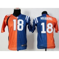 Nike Broncos #18 Peyton Manning OrangeBlue Youth Stitched NFL Elite Split Colts Jersey