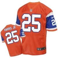Nike Broncos #25 Chris Harris Jr Orange Throwback Men's Stitched NFL Elite Jersey
