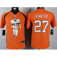 Nike Broncos #27 Steve Atwater Orange Team Color Youth Portrait Fashion NFL Game Jersey
