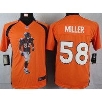 Nike Broncos #58 Von Miller Orange Team Color Youth Portrait Fashion NFL Game Jersey