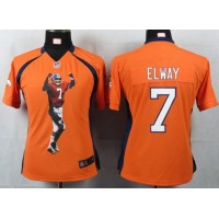 Nike Broncos #7 John Elway Orange Team Color Women's Portrait Fashion NFL Game Jersey