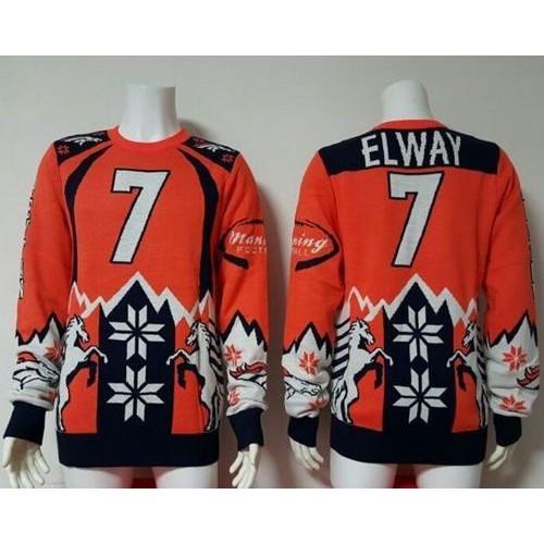 san francisco 0e855 d1c85 Nike Broncos #7 John Elway OrangeNavy Blue Men's Ugly Sweater