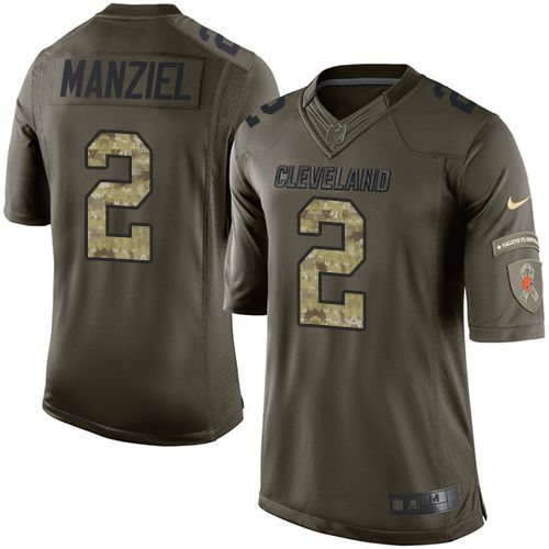 adc6958b78f Nike Browns  2 Johnny Manziel Green Men s Stitched NFL Limited Salute to  Service Jersey