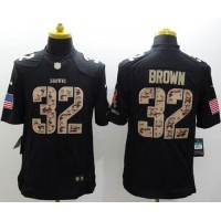 Nike Browns #32 Jim Brown Black Men's Stitched NFL Limited Salute to Service Jersey