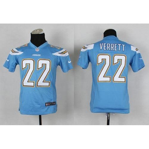 Cheap Nike Chargers #22 Jason Verrett Electric Blue Alternate Youth  hot sale