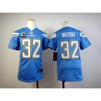 Nike Chargers #32 Eric Weddle Electric Blue Alternate With C Patch Youth Stitched NFL Elite Jersey