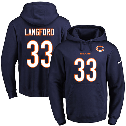 5c499b2a09a Nike Chicago Bears #33 Jeremy Langford Navy Blue Name & Number Pullover NFL  Hoodie