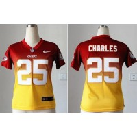 Nike Chiefs #25 Jamaal Charles RedGold Women's Stitched NFL Elite Fadeaway Fashion Jersey