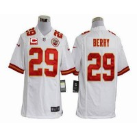 Nike Chiefs #29 Eric Berry White With C Patch Men's Stitched NFL Game Jersey