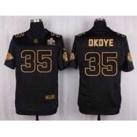 Nike Chiefs #35 Christian Okoye Black Men's Stitched NFL Elite Pro Line Gold Collection Jersey