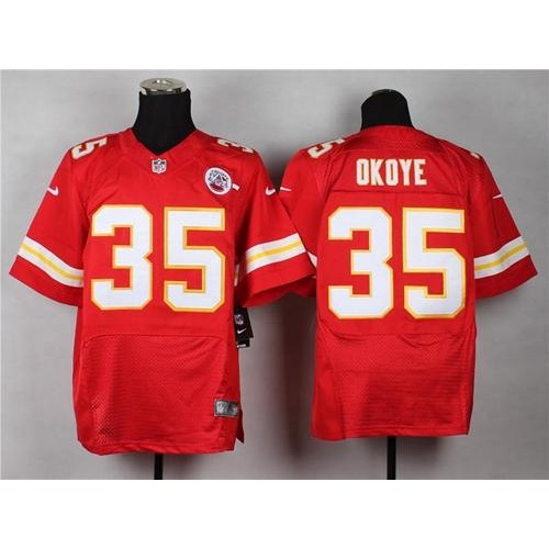 eb9d27ba7c1 Nike Chiefs  35 Christian Okoye Red Team Color Men s Stitched NFL Elite  Jersey