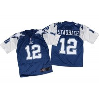Nike Cowboys #12 Roger Staubach Navy BlueWhite Throwback Men's Stitched NFL Elite Jersey