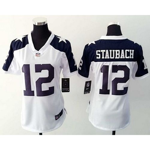 08cced633 Nike Cowboys #12 Roger Staubach White Thanksgiving Throwback Women's  Stitched NFL Elite Jersey