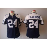Nike Cowboys #24 Morris Claiborne Navy Blue Thanksgiving Women's Stitched NFL Limited Jersey