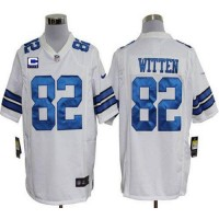 Nike Cowboys #82 Jason Witten White With C Patch Men's Stitched NFL Game Jersey