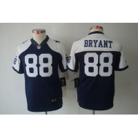 Nike Cowboys #88 Dez Bryant Navy Blue Thanksgiving Youth Throwback Stitched NFL Limited Jersey