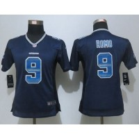 Nike Cowboys #9 Tony Romo Navy Blue Team Color Women's Stitched NFL Elite Strobe Jersey