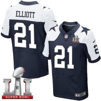 Nike Dallas Cowboys #21 Ezekiel Elliott Navy Blue Thanksgiving Men's Stitched NFL Super Bowl LI 51 Throwback Elite Jersey