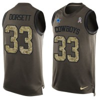 Nike Dallas Cowboys #33 Tony Dorsett Green Men's Stitched NFL Limited Salute To Service Tank Top Jersey