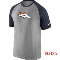 Nike Denver Broncos Ash Tri Big Play Raglan NFL T-Shirt GreyNavy Blue