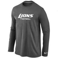 Nike Detroit Lions Authentic Font Long Sleeve T-Shirt Dark Grey