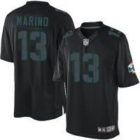 Nike Dolphins #13 Dan Marino Black Men's Stitched NFL Impact Limited Jersey