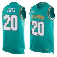 Nike Dolphins #20 Reshad Jones Aqua Green Team Color Men's Stitched NFL Limited Tank Top Jersey
