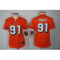 Nike Dolphins #91 Cameron Wake Orange Alternate Women's Stitched NFL Limited Jersey