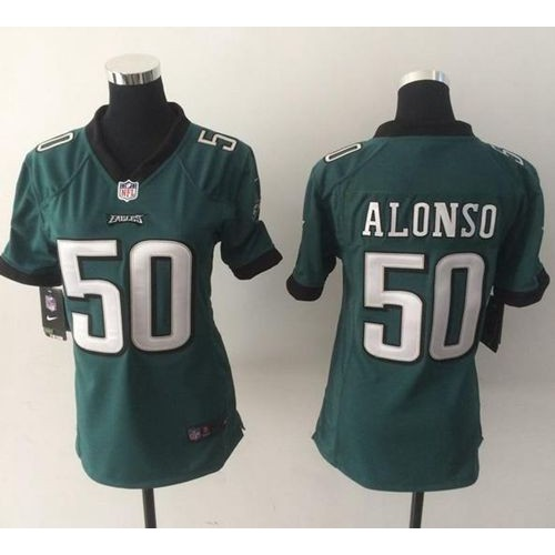 3f22fb929 Nike Eagles  50 Kiko Alonso Midnight Green Team Color Women s Stitched NFL  New Elite Jersey