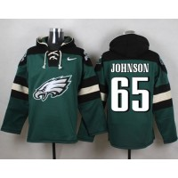 Nike Eagles #65 Lane Johnson Midnight Green Player Pullover NFL Hoodie