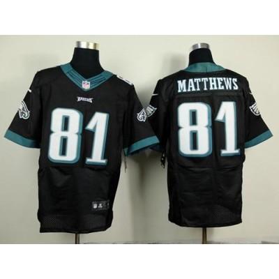 brand new 76675 5b99d Nike Eagles #81 Jordan Matthews Black Alternate Men's ...