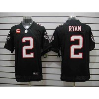 Nike Falcons #2 Matt Ryan Black Alternate With C Patch Men's Stitched NFL Elite Jersey