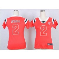 Nike Falcons #2 Matt Ryan Red Team Color Women's Stitched NFL Elite Draft Him Shimmer Jersey