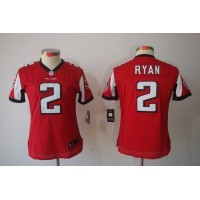 Nike Falcons #2 Matt Ryan Red Team Color Women's Stitched NFL Limited Jersey